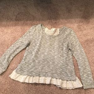 Peplum Sweater with Lace Detail